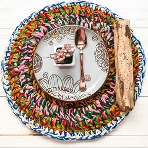 HAND KNITTED BOHO Round 17″ Multi-color Placemats